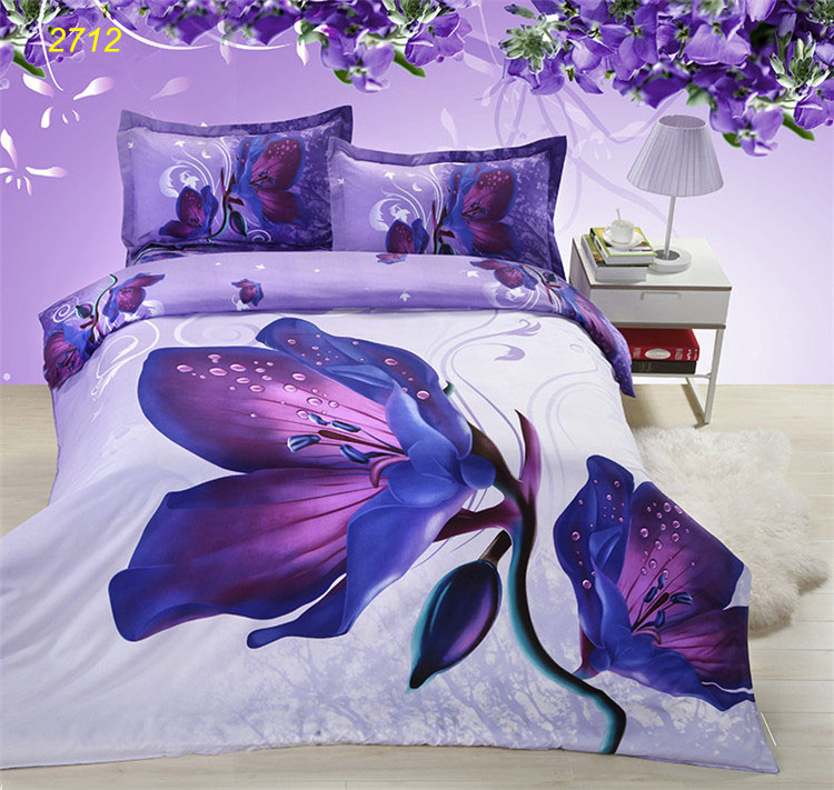 Purple Flower Bedding Set Yellow Pink Rose Plant Quilt Comforter Duvet Cover Bed Linen Sheet Pillowcase 2712 In Sets From Home