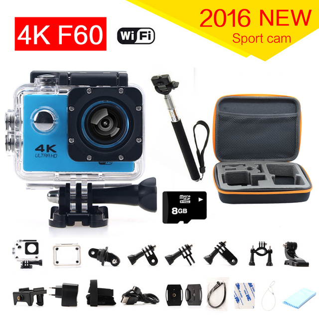 gopro hero 4 style F60 4k Sport Camera Wifi 170 Degree Wide Lens Helmet Diving Cam Underwater go pro Waterproof Action Camera