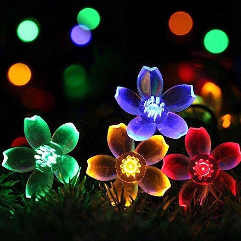 Peach Flower Solar Lamp Power Led String Fairy Lights 6V Garden Christmas Decor