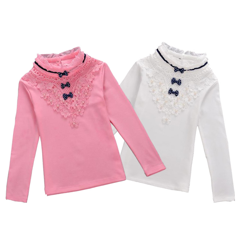 все цены на Children Clothing Girls Turtleneck Blouse 2018 Spring Autumn Bow Lace Shirt Cotton Long Sleeve Sweatshirts School Kids Clothes