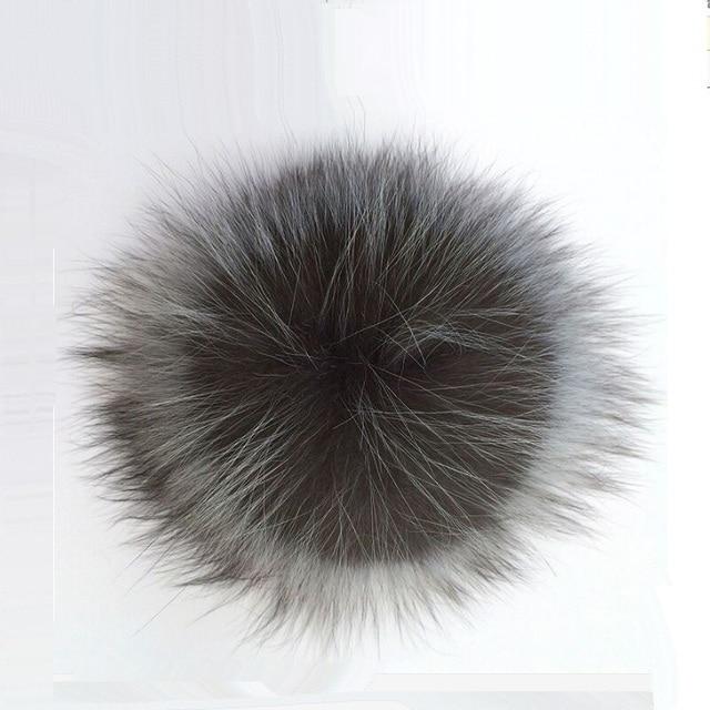 PPM002 Genuine Real Silver Fox Fur Fur Pompom Pom Poms Bola para Chapéus De Pele Naturais Bola Pompom Para Sapatos Tampas Sacos Acessório