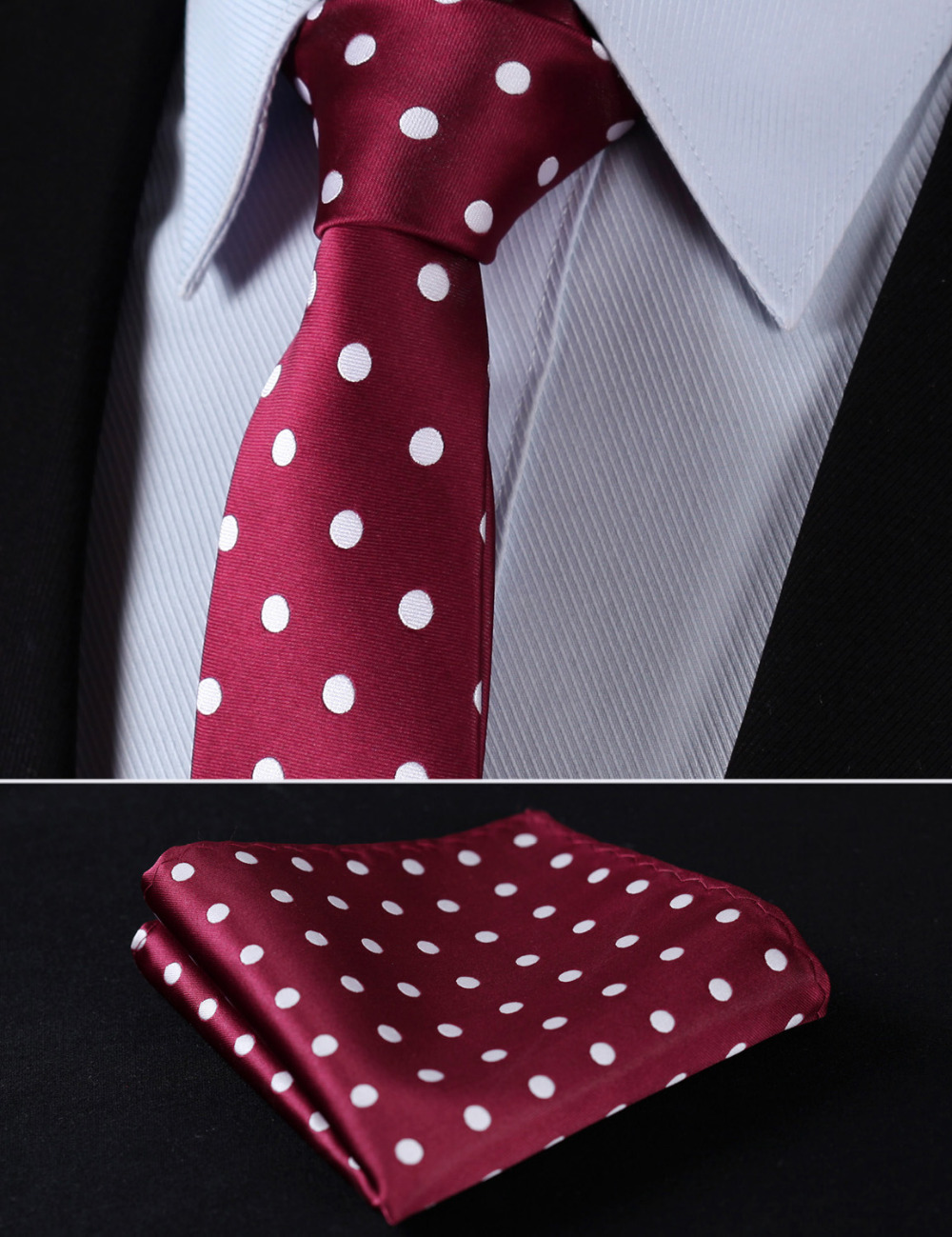 "TD704U7 Burgundy White Polka Dot 2.75"" 100%Silk Woven Slim Skinny Narrow Men Tie Necktie Handkerchief Pocket Square Suit Set"