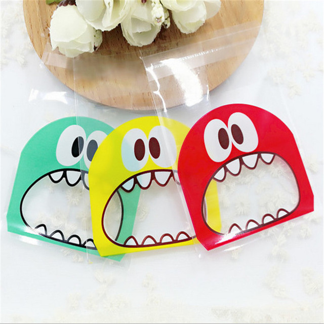 Small Gift Bags with Monster Pattern 100 pcs/set