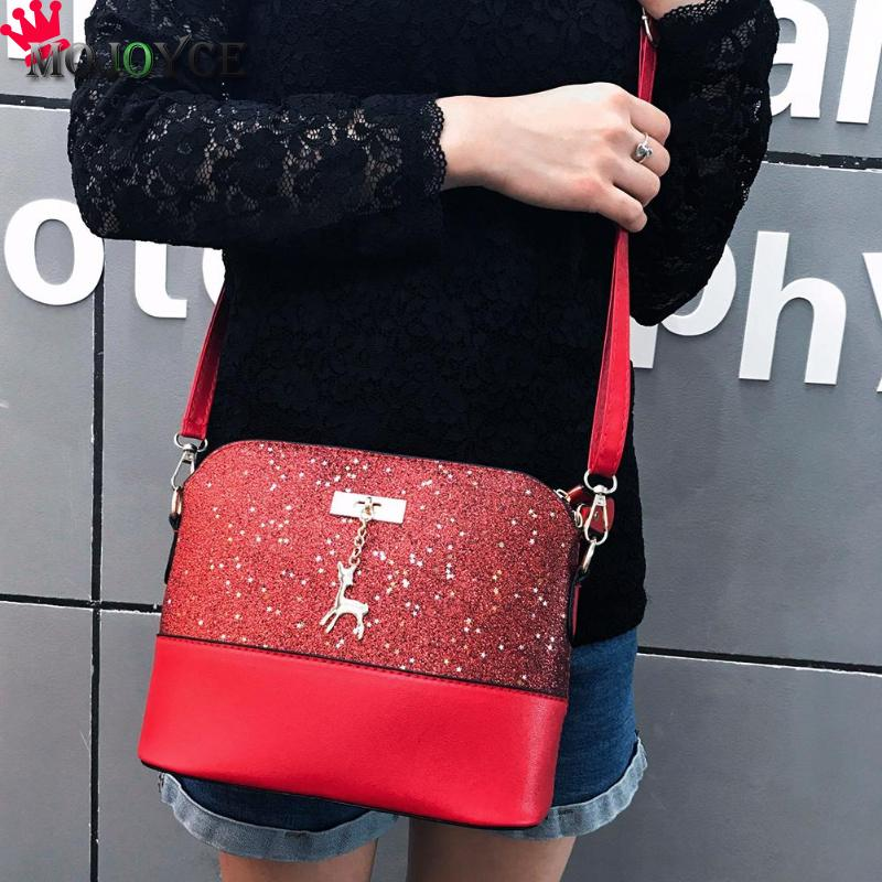 2018 New Shell Messenger Bag Shoulder Bag Handbag Deer Women Ladies Sequin Lady PU Leather Crossbody Bag Shining Designer Casual