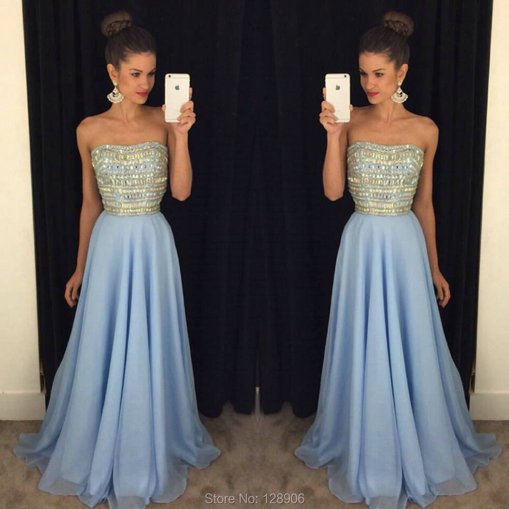 30377263f85fc New Arrival Baby Blue Prom Dresses Beaded Stones Strapless A line Long  Chiffon Prom Gowns Backless Party Dress-in Prom Dresses from Weddings &  Events on ...