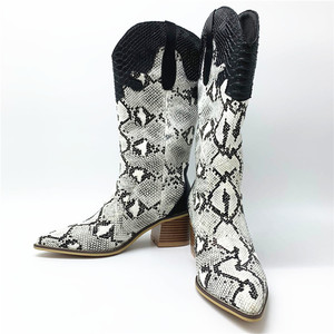 Image 3 - Fashion Embossed microfiber  Leather Women Mid calf Boots Toe Western Cowboy Boots Chunky High Heels Motorcycle Boots size 33 46