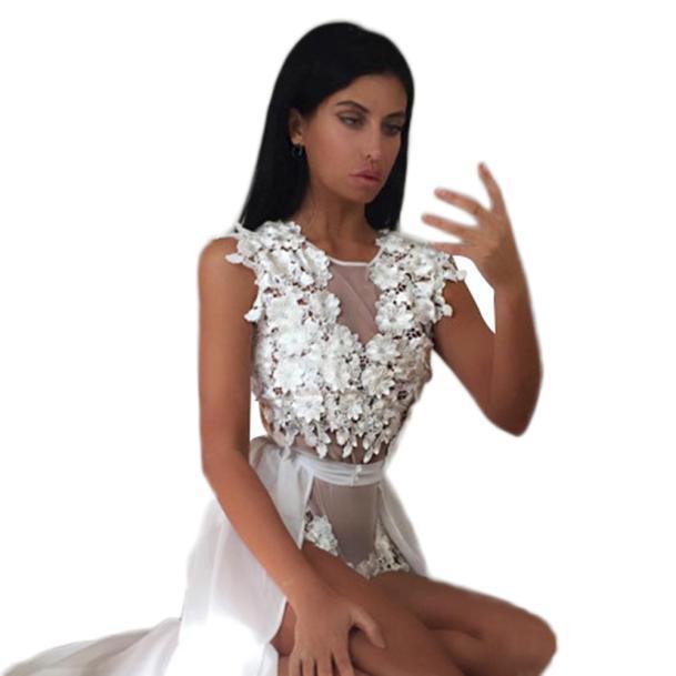 New Women's Sexy Long Chiffon skirt and lace Sleeveless Jumpsuit