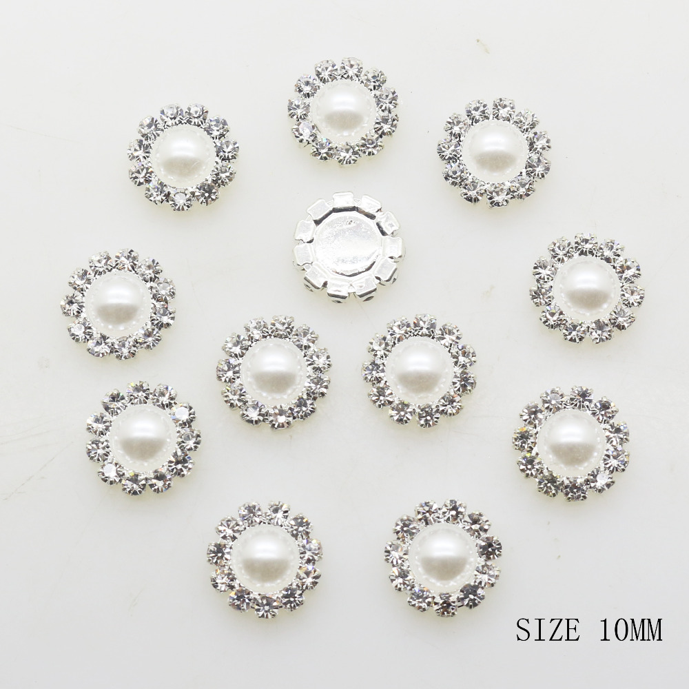 ZMASEY New <font><b>10MM</b></font> Fashion 10pcs/lot Round Silver <font><b>Buttons</b></font> Diy White Pearl Accessories Festival Decor Diameter Supplies Wholesale image