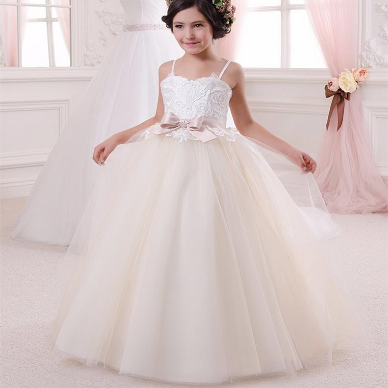 Light champagne Flower Girl Dress Lace Applique White Elegant Thin Shoulder Strap Pink Belt Gown Girl First Communion Dress