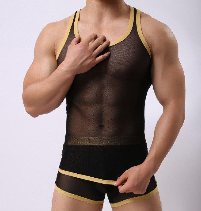 New Men Casual tank tops Men Mesh Nylon Vest Sexy Golden side H Back Underskirt Sleep wear for men