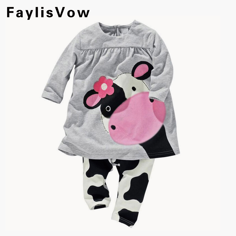 Clearance Baby Girl Clothes Infant Cute Cartoon Cow Printed Clothing Set Casual Toddler Long-sleeve T-shirt Pants Suit Tracksuit ...