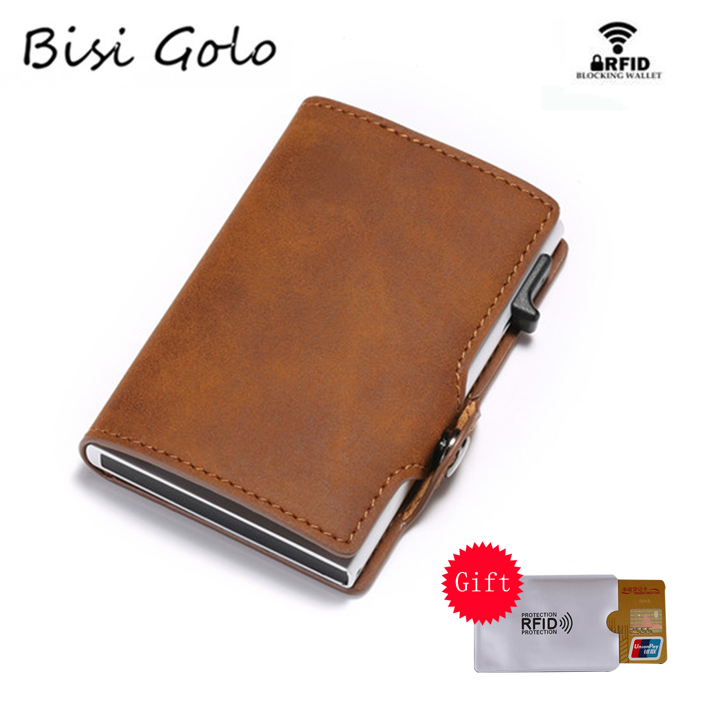 BISI GORO Fashion Wallet 2020 New Vintage Card Holder RFID Slim Suitcase Business Luxury Card Case Anti-theft Card Wholesale