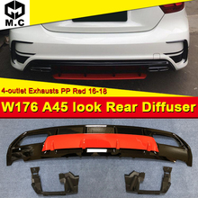 For Mercedes W176 A class Sports A45 look Rear Diffuser Set ABS balck +4-Outlet Exhaust 304 Stainless Steel A180 A200 A250 16-18