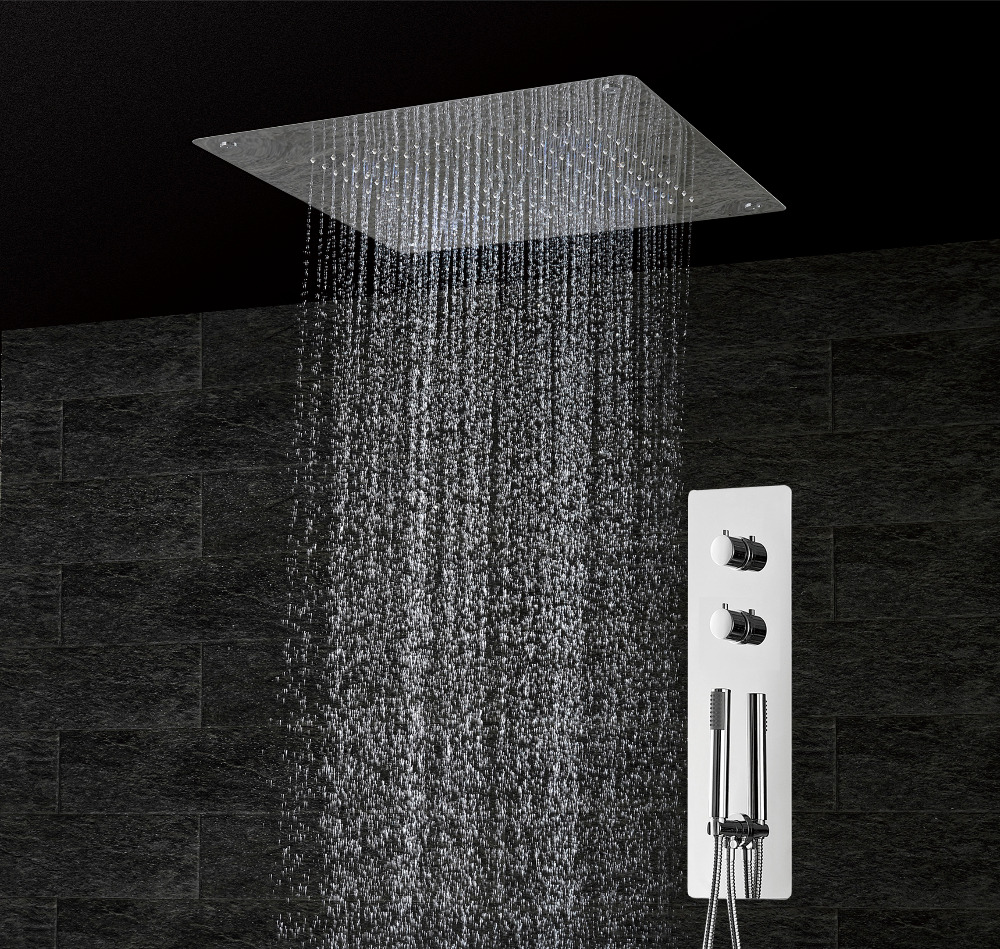 Shower Faucets Bathroom Fixtures Glorious Concealed Thermostatic Shower Set Panel Bathroom Mixer Faucet Bath Tap Sus304 Ceiling Shower Head 500x500 Rain Bf5105 Reliable Performance