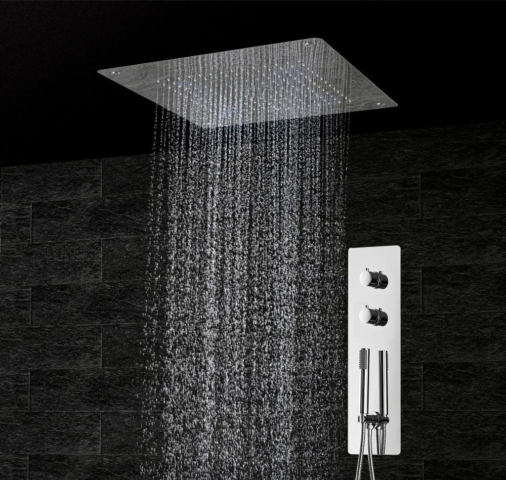 Set de douche thermostatique dissimulé panneau salle de bain mitigeur robinet de bain SUS304 plafond pomme de douche 500x500 pluie BF5105