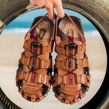 Брендовая мужская повседневная обувь Новые летние мужские сандалии дышащая кожаная мужская удобная обувь для пляжа повседневные дешевые сандалии без шнуровки