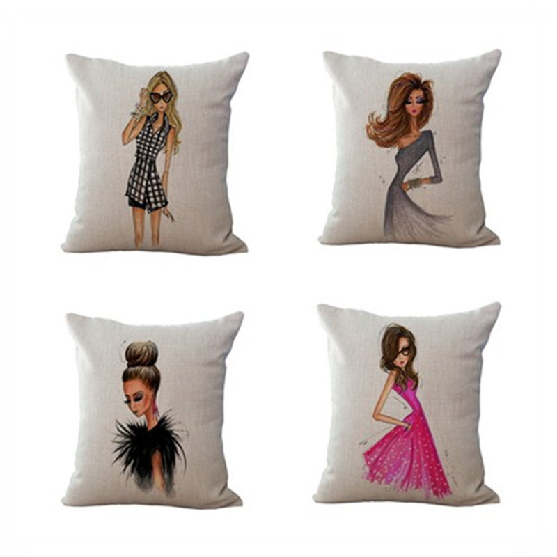 Fashion Cartoon Beauty Girl Pillowcase Cushion Cover Square Pillow Case Home Decor F
