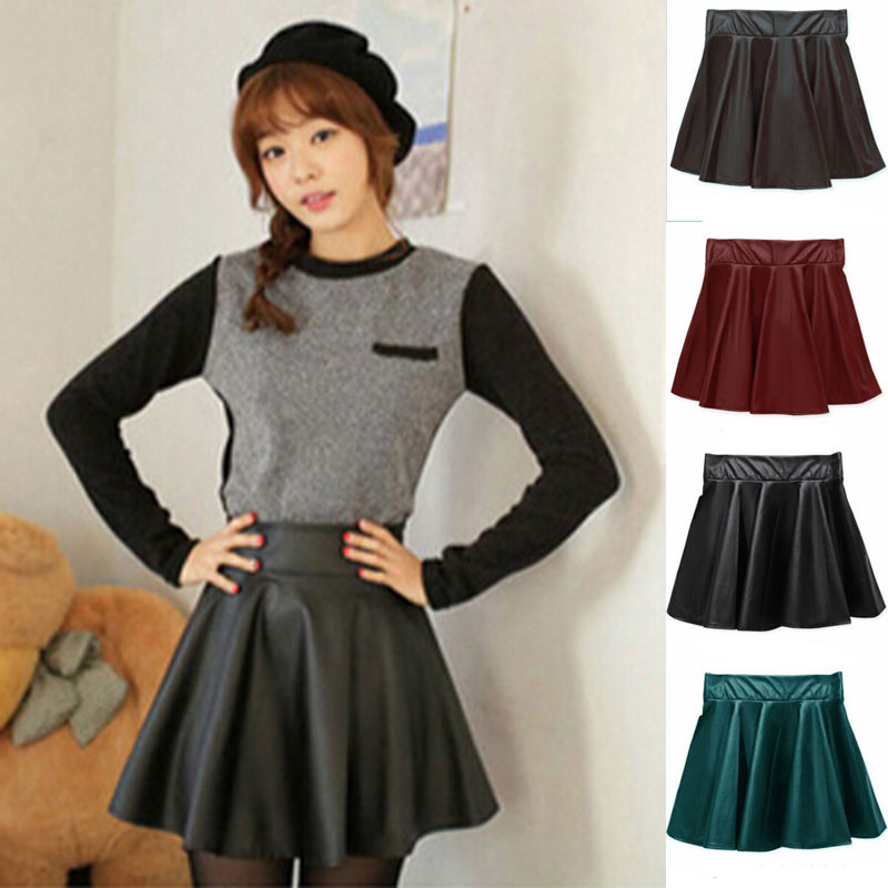 Women Faux Leather High Waist Skater Flared Pleated Black Short Mini Skirt Fashion New Hot