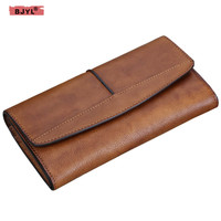 BJYL Women's handmade wallet female Genuine leather long wallet retro long zipper three fold wallets card coin purse Clutch bag