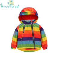 2017 New Autumn Baby Coat Jacket For Girl Rainbow Hooded Windbreaker Children Clothing Toddler Outerwear Kids