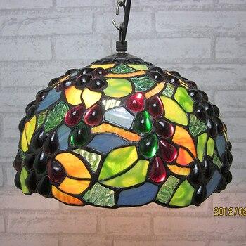 16 Polegada País Carne uva Tiffany luz pingente Estilo Country E27 Manchado Vidro Da Lâmpada para o Quarto 110-240 v