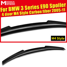 For BMW E90 M4 Style Carbon Fiber Trunk Spoiler Wing 3 Series Sedan 318i 320i 323i 325i 328i 335i Add on Look Rear Wings 2005-11 стоимость
