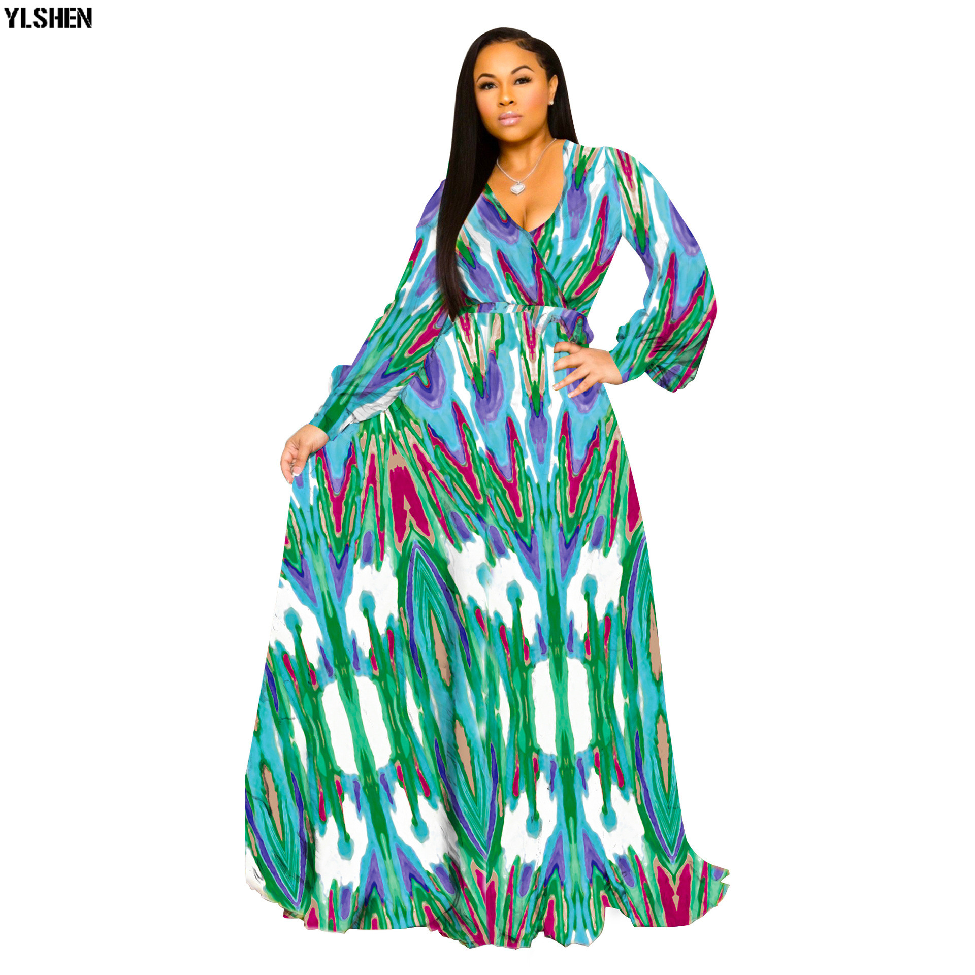 S-5XL African Dresses For Women Dashiki Print African Clothes Robe Africaine 2019 Fashion Long Sleeve Maxi Dress Africa Clothing