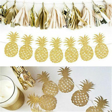 Omilut Gold Pineapple Banner Hawaii Party Flamingo Happy BirthdaySummer Decoration Supplies