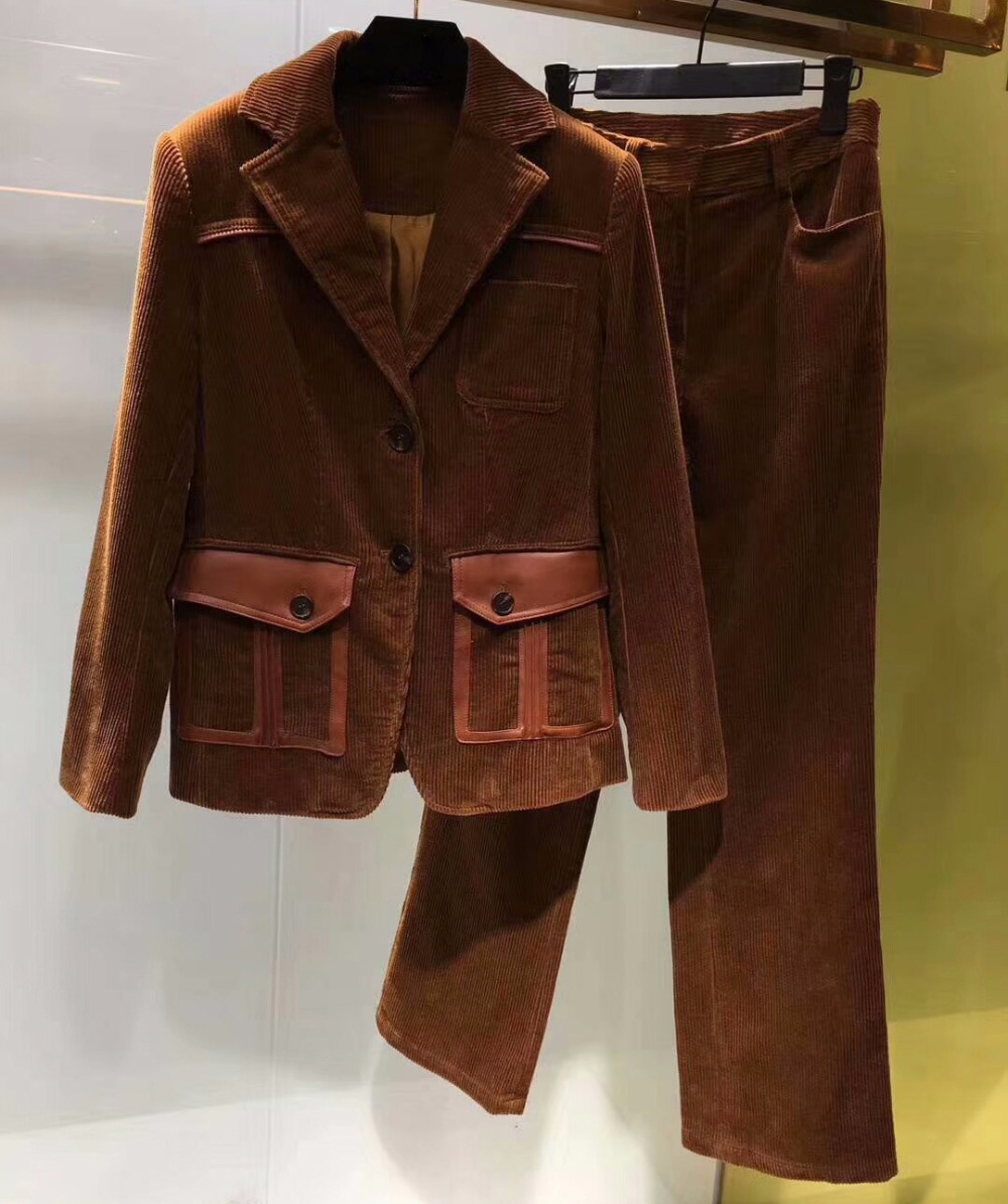 2017 women casual two piece set,autumn jacket and pants set for women,amazing corduroy spliced sheep skin pocket top jacket set
