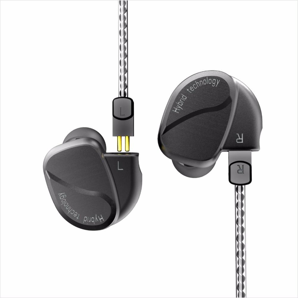 BQEYZ K2 2DD + 2BA Hybride Dans L'oreille Écouteurs HIFI Basse Intra-auriculaires Courir Sport Boules Quies Casque DJ Monito Avec 2Pin remplacement Câble