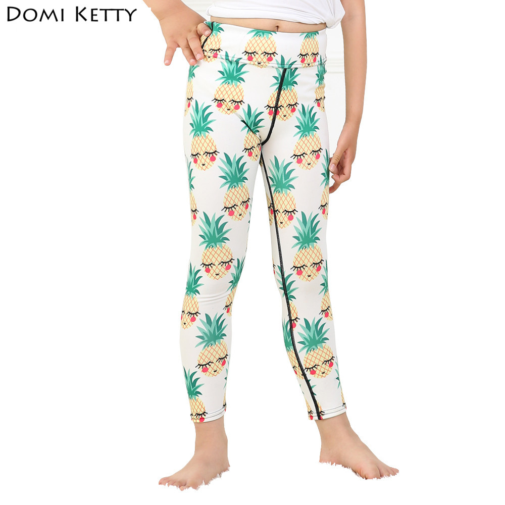 Domi Ketty girls leggings printed shy pineapple kids lovely casual fitness high waist pants children baby cartoon leggings
