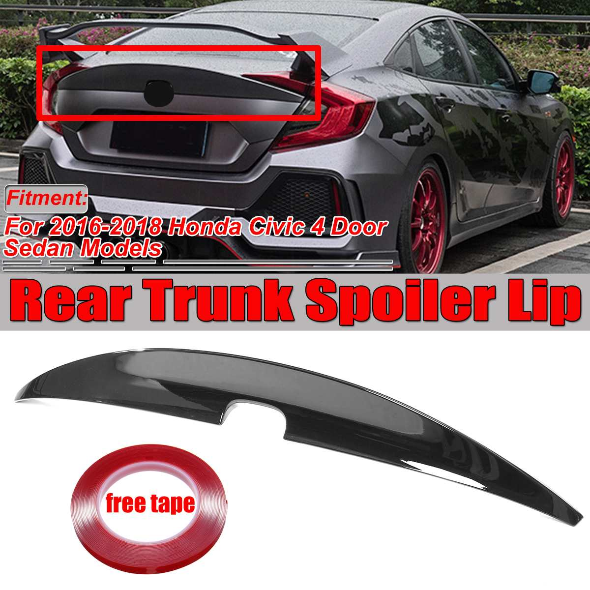 Painted Glossy Black Window Rear Spoilers Wings For 2016-2018 HONDA CIVIC 10th