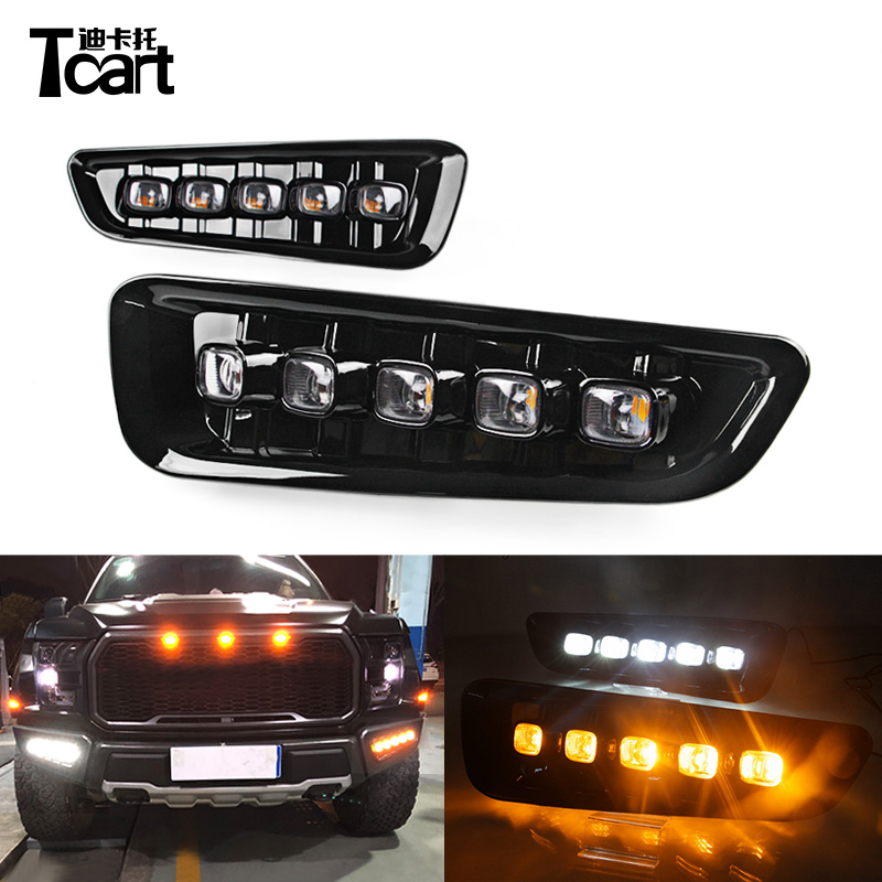 Tcart Car Flashing 2pcs DRL LED Daytime Running Lights For Ford Raptor F150 2016 -2018 Fog Lights yellow turn lights okeen 2pcs high quality led drl for ford raptor f150 2010 2011 2012 2013 2014 daytime running lights with turn signal lamp 12v