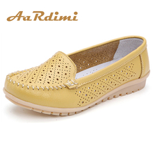 AARDIMI Summer Genuine Leather Women Flats Shoes
