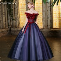 CEEWHY Boat Neck Vintage Tulle Appliques Evening Dress Ball Gown Evening Dresses Luxury Prom Dress Evening Gown Vestido Longo