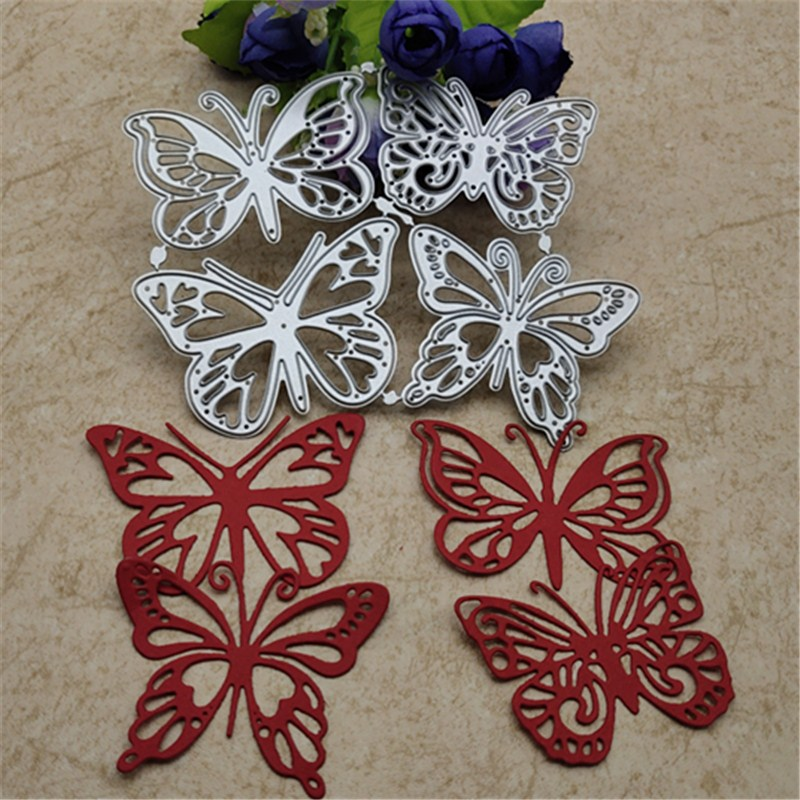 4PCS/lot Butterfly Metal Cutting Dies DIY Cards Stencils Photo Album Embossing Paper Making Scrapbooking Knife Mold Crafts Dies