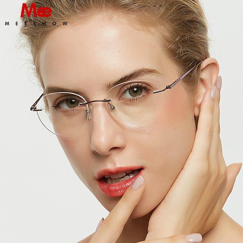 Meeshow Pure Titanium Glasses Frame Women Rimless Eyeglasses Korean Round Diamonds Glasses Prescription Sunglasses Eyewear  8513