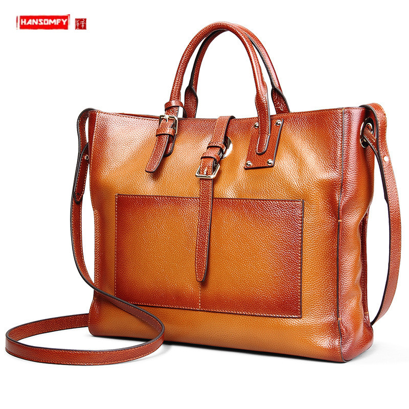 New Genuine Leather Women Handbags Large Capacity Female Shoulder Crossbody Bag 15 Inch Laptop Briefcase Ladies Tote Travel Bags