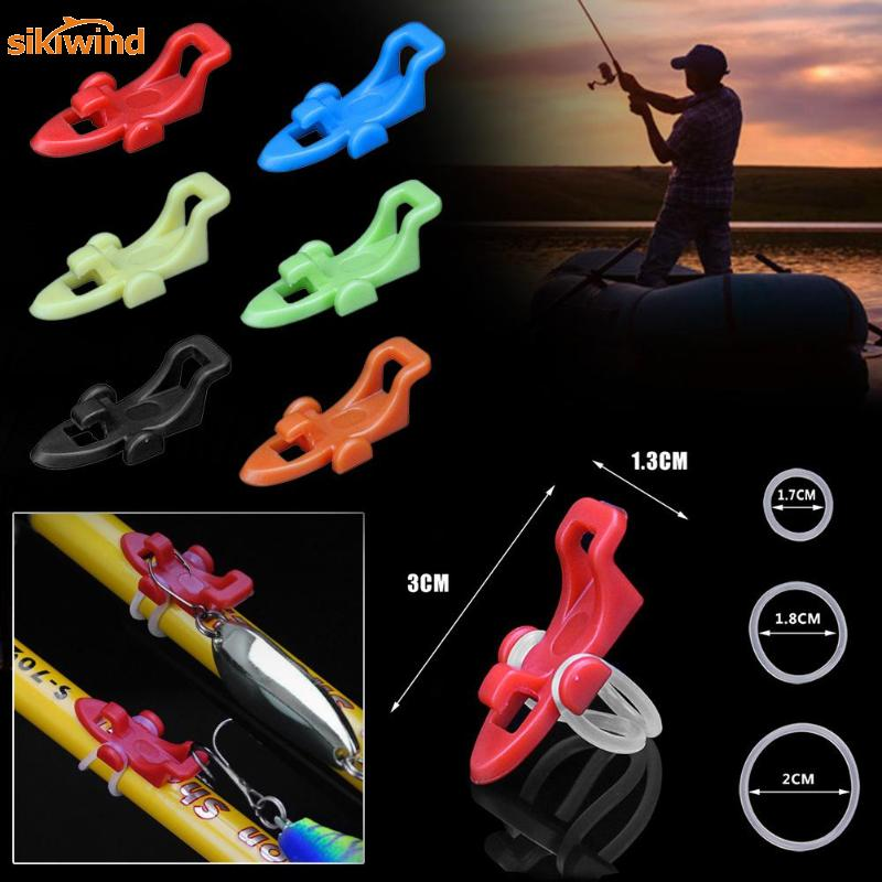 6 Colors Fishing Hook Keeper Fishing Rod Lure Bait Safety Holder Plastic Hanger Fish Tackle Gadgets Accessories Tool Pesca