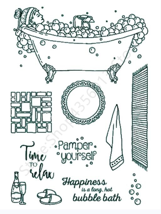 Purposeful Bathing Girl Transparent Clear Silicone Stamp Seal Diy Scrapbooking Photo Album Decorative Clear Stamp A0604 Fine Workmanship Stamps