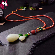 Luxury Wedding Gemstone Jewelry Flower Bamboo 55mm*29mm Big White Jade Pendant Handmade Beads Chain Silver Necklace Women SN17