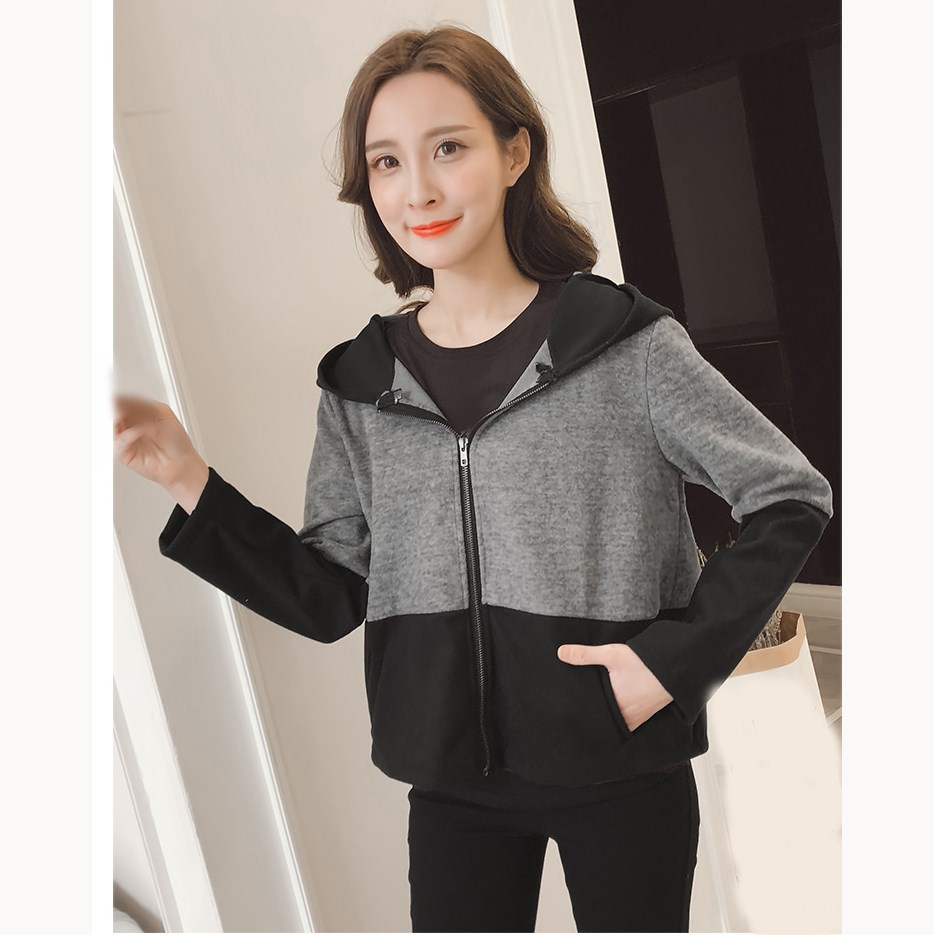 Spring Women Hooded Hoodies Coat Long Sleeves Zipper Pockets Patchwork Coat Casual Autumn Thin   Basic     Jacket