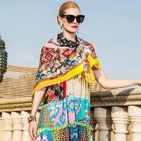 100% Silk print bohemian square scarf 2018 new fashion high quality long shawl