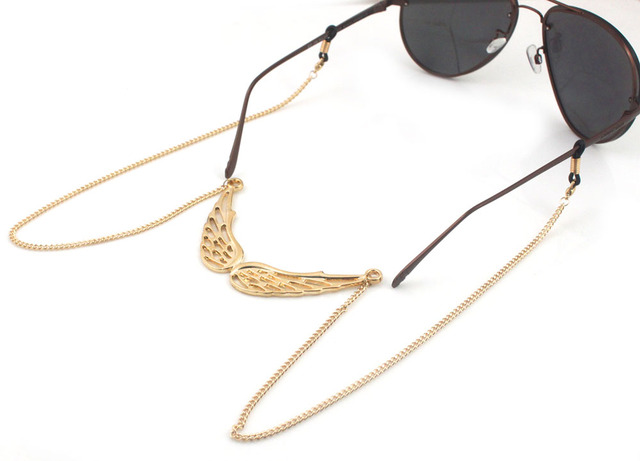246897e9d GL124 1 قطعة/الوحدة مجانية جميلة الفضة الجناح انخيل سلاسل النظارات حامل  سلسلة قلادة