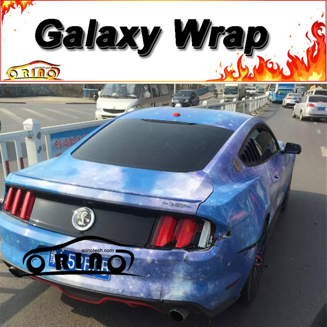 Glossy Blue Sky Star Galaxy Wrap Film Vinyl Sticker Vehicle Motorcycle Truck Car Body Cover Wrapping
