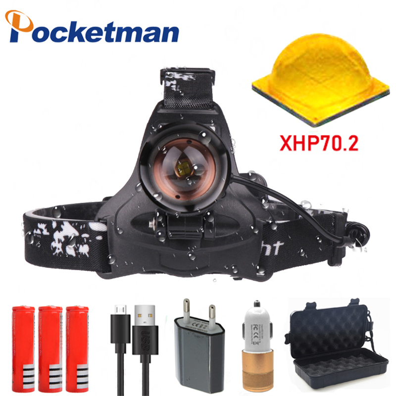 60000 Lumen LED headlamp XHP70 Recarregável Farol de alta potência de pesca head lamp torch zoom Head light para Camping 2806