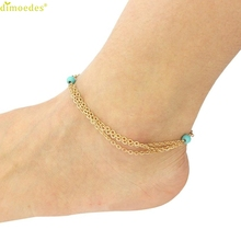 Diomedes Newest Creative Fashion Jewelry Beaded Tassel Multilayer Anklet For Women High Quality Anklets