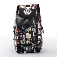 Outdoor Leisure Canvas Backpack Trendy Graffiti Sports Bag For Teen Kids Youth Travel Hiking Bicycle Rucksack