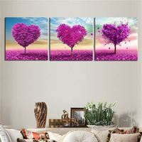 2017 Top Fashion Spray Painting Square Hot Sale 3 Pieces Combinated Modern Love Tree Canvas Painting Fashion Oil Wall Decor
