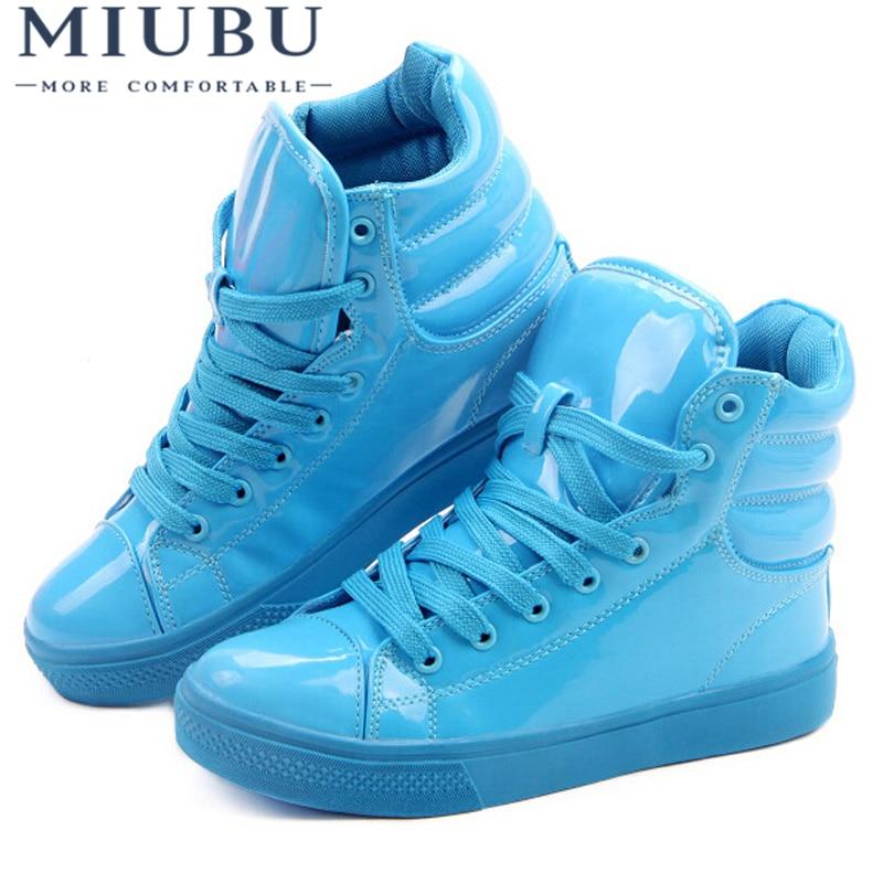 MIUBU New Arrival Lighted Candy Color High-top Shoes Men Unisex Fashion Shoes Flat Platform Shoes Couple Shoes